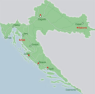 Map of Cathedrals in Croatia