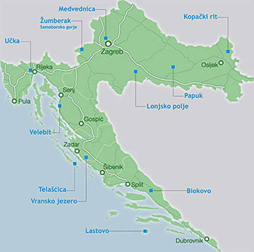 Map of Nature Parks in Croatia